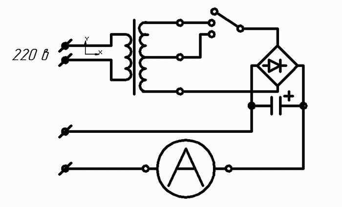 ...потом большой реостат, диодный мост ну и конденсатор, так же прикупил переключатель галетный, БОЛЬШОЙ амперметр...